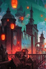 Preview iPhone wallpaper Fantasy art painting, castle, bridge, lanterns, buildings, night