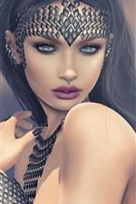 Preview iPhone wallpaper Fantasy girl, black hair, decoration