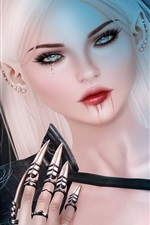 Preview iPhone wallpaper Fantasy white hair girl, tear, blood