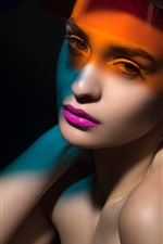 Preview iPhone wallpaper Fashion girl, look, colorful light, black background