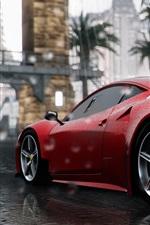 Ferrari 458 Italia red supercar rear view, rain