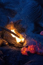 Preview iPhone wallpaper Fire, bonfire, sparks, rocks, night