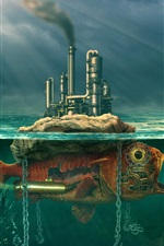 Preview iPhone wallpaper Fish, factory, sea, smoke, creative design