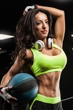 Preview iPhone wallpaper Fitness female, girl, ball, headphones
