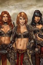 Preview iPhone wallpaper Five fantasy girls, warrior, art drawing