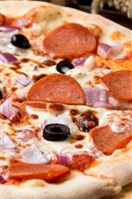 Preview iPhone wallpaper Food, pizza, cheese, sausages