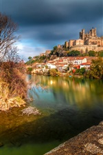Preview iPhone wallpaper France, Cathedral of Saint-Nazaire, Beziers, river