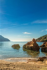 Preview iPhone wallpaper France, Corsica, coast, beach, sea, mountains, sun