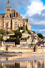 Preview iPhone wallpaper France, Mont Saint Michel, castle, fortress, river
