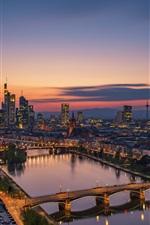 Preview iPhone wallpaper Frankfurt am main, Germany, city, night, river, bridge, skyscrapers