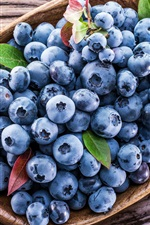 Fresh blueberries, basket, fruit photography