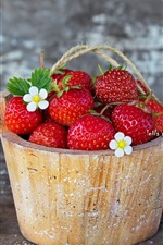 Preview iPhone wallpaper Fresh strawberry, wood bucket