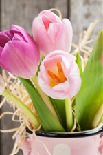 Preview iPhone wallpaper Fresh tulips, pink flowers, vase