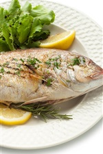 Peixe frito, comida, fundo branco