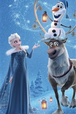 Preview iPhone wallpaper Frozen, Elsa, Anna, deer, snowman, Disney cartoon movie