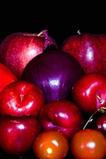 Preview iPhone wallpaper Fruit and vegetables, apple, tomato, cherry, pear, onion