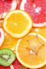 Preview iPhone wallpaper Fruit slices, grapefruit, grapes, citrus, orange, kiwi
