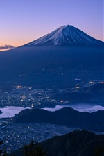 Preview iPhone wallpaper Fuji, mountain, Japan, city, river, dusk