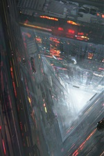 Preview iPhone wallpaper Future city, abyss, roads, cars, train, flight, fantasy art drawing