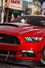 Preview iPhone wallpaper GTA 5, Ford Mustang red car
