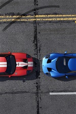 Preview iPhone wallpaper GTA 5, blue and red racing cars top view