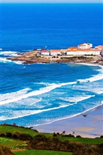 Preview iPhone wallpaper Galicia, Spain, cape, houses, sea, waves
