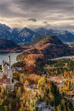 Preview iPhone wallpaper Germany, Bavaria, trees, Neuschwanstein Castle, town, mountains, clouds