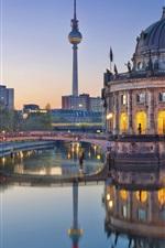 Preview iPhone wallpaper Germany, Berlin, Bode Museum, evening, river, lights