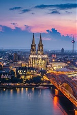 Preview iPhone wallpaper Germany, Cologne, cathedral, bridge, river, lights, night, city