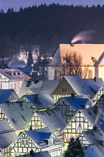 Preview iPhone wallpaper Germany, Freudenberg, houses, roof, night, snow, winter