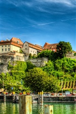 Preview iPhone wallpaper Germany, Meersburg, Lake Constance, houses, blue sky