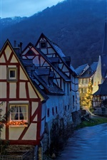 Preview iPhone wallpaper Germany, Monreal, evening, houses, river, lights