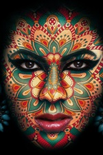 Preview iPhone wallpaper Girl face, makeup, tattoo, black background