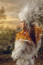 Preview iPhone wallpaper Girl, feather dress, art photography