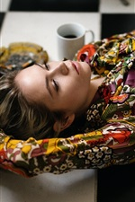 Preview iPhone wallpaper Girl lying on floor, blouse, tattoo