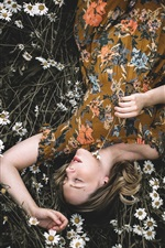Preview iPhone wallpaper Girl sleep in chamomile flowers field