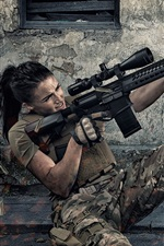 Preview iPhone wallpaper Girl use assault rifle, shooting