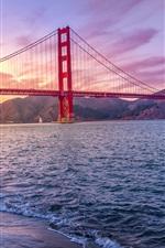 Golden Gate Bridge, California, USA, sea, clouds, sunset