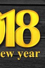 iPhone fondos de pantalla Color dorado 2018, feliz año nuevo, fondo de madera