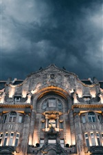 Preview iPhone wallpaper Grand Budapest Hotel, front view, lights, clouds, night