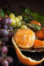 Preview iPhone wallpaper Grapes and oranges, fruit, black background