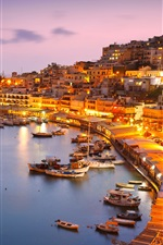 Preview iPhone wallpaper Greece, Athens, coast, sea, yachts, pier, houses, night, lights
