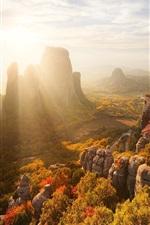 Griechenland, Herbst, Felsen, Berge, Häuser, Bäume, Sonnenstrahlen