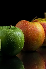 Preview iPhone wallpaper Green and red apples, water drops, black background
