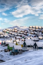 Preview iPhone wallpaper Greenland, Nuuk, Denmark, winter, houses, snow, beautiful