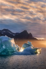 Preview iPhone wallpaper Greenland, ice, sea, sunset, Denmark
