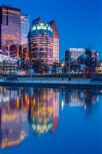 Hague, Netherlands, city night, river, water reflection, lights