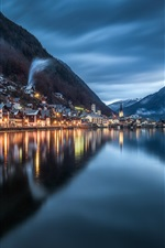 Preview iPhone wallpaper Hallstatt, night, lake, water reflection, mountains, Austria
