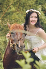 Preview iPhone wallpaper Happy Asian girl, wreath, horse