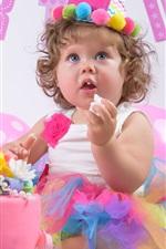Feliz aniversário, criança, bolo, balões